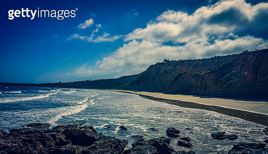 Beautiful views of the beach, cliffs and ocean on the Great Ocean Road in Australia