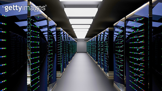 Server room data center. Backup, mining, hosting, mainframe, farm and computer rack with storage information. 3d render