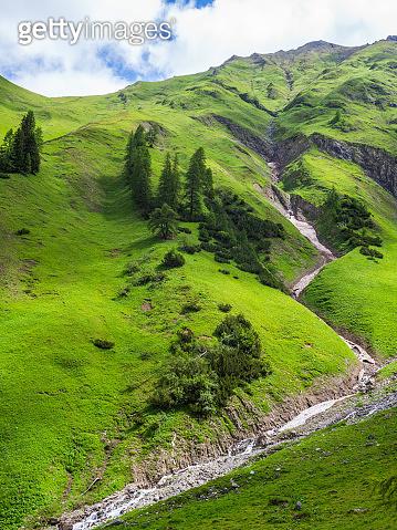 Brook in Mountain Landscape European Alps Summer Cloud Sky Hike Adventure E5