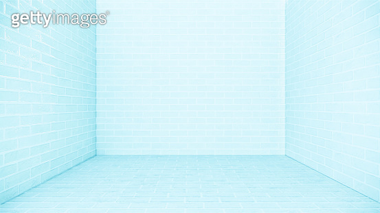 blue white brick floor and brick wall background. 3D rendering