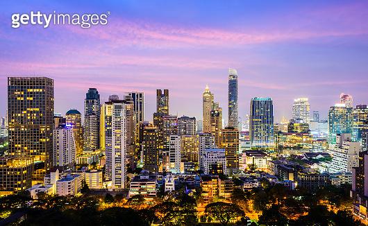 Bangkok Downtown Silom City Skyline at Sunset, Thailand