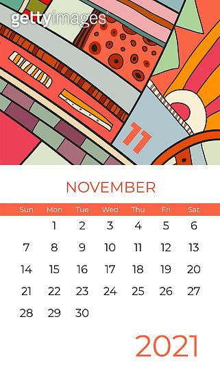 2021 November calendar abstract contemporary art vector. Desk, screen, desktop month 11, 2021, colorful 2021 calendar