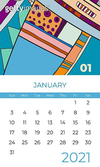 2021 january calendar abstract contemporary art vector. Desk, screen, desktop month 01, 2021, colorful 2021 calendar