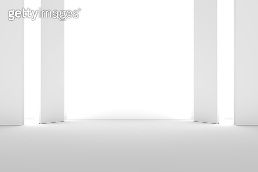 Abstract interior design of modern showroom with empty concrete floor and white wall background - Hall or stage 3d illustration