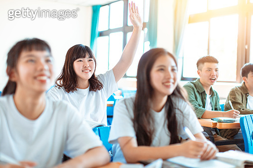 asian teenager Student Study with Classmate in Classroom