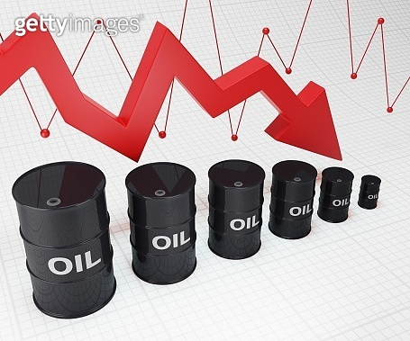 Crisis in oil and petroleum ndustry. Oil barrels and falling graph 3d illustration