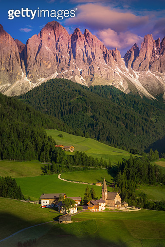 Idyllic St Magdalena landscape with church at sunset, Dolomites alps – Italy