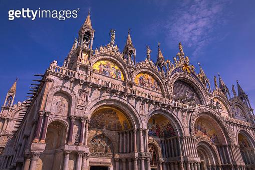 San Marco square, Basilica di San Marco low angle view - Venice, Italy