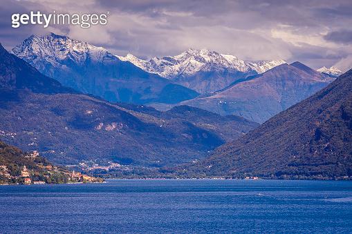 Above Lake Lugano at sunset and swiss alps landscape – Ticino, Switzerland