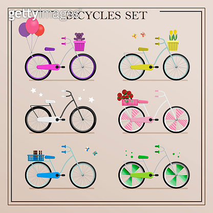A set of bicycles in retro style and in different colors. Vector illustration of flat bikes with a Luggage basket, balloons and other items. Bicycle as a method of delivery, sports or recreation.