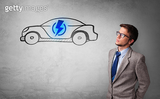 Person thinking with drawn car concept