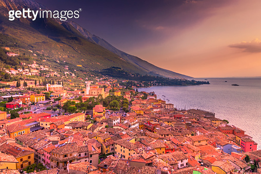Malcesine medieval old town from above at sunset, Lake Garda, Italy