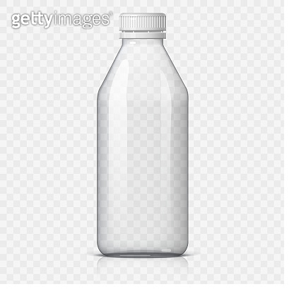 Realistic plastic bottle for water.