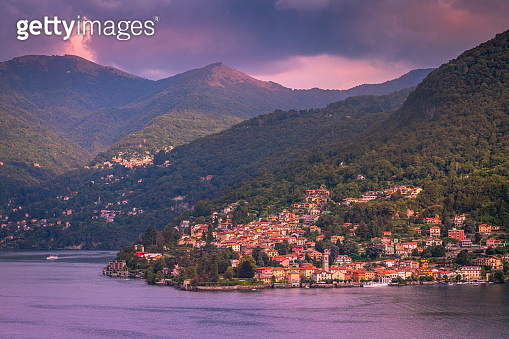 Lake Como and Torno on the other side at sunset - Lombardy, Italy