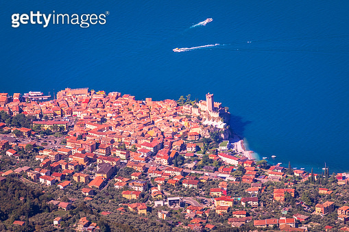 Malcesine medieval old town from above Monte Baldo, Lake Garda, Italy