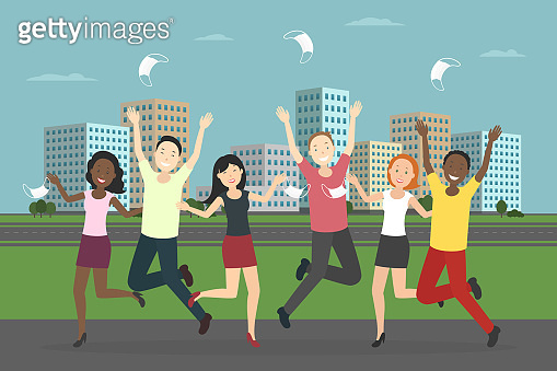 Multiethnic group of people rejoice at pandemic ending. Vector illustration