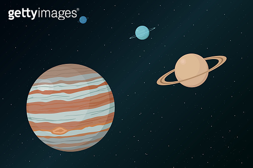 View of Jupiter from outer space. Vector illustration