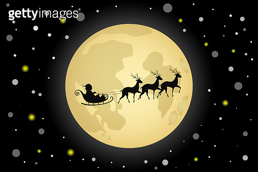 Silhouette of Santa Claus and his reindeer sleigh on moon background. Vector illustration