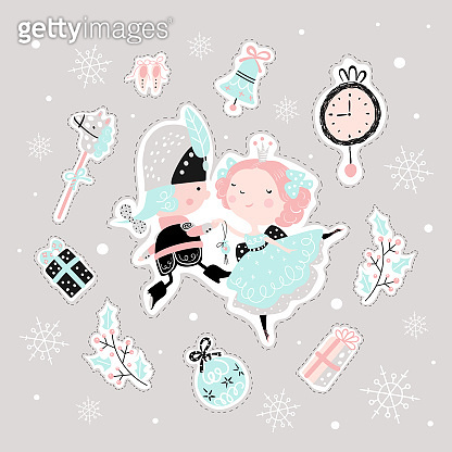 Fairy childish pattern with nutcracker, girl and toys.