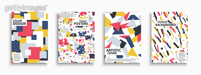 Collection of colorful contemporary covers, templates, posters, placards, brochures, banners, flyers and etc. Artistic fashion backgrounds. Abstract trendy design