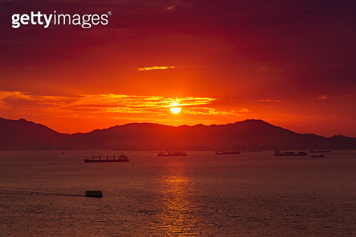 Aerial view of Hong Kong Harbour at Sunset
