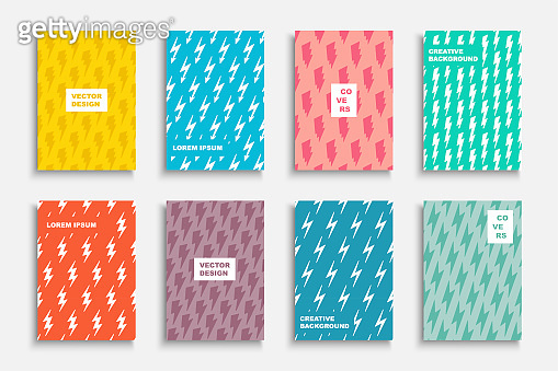 Collection of bright decorative covers. Abstract colorful posters with creative thunderbolt prints