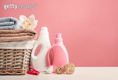 Washing powder on pink background