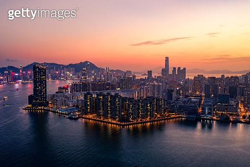Drone view of Hong Kong city at Sunset