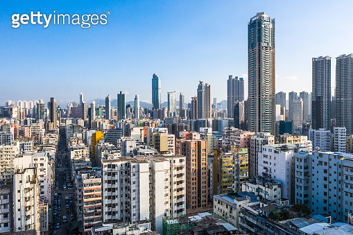 Aerial view of Hong Kong apartments in cityscape background, Sham Shui Po District. Residential district