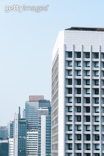 Office building exterior, modern architecture, close u