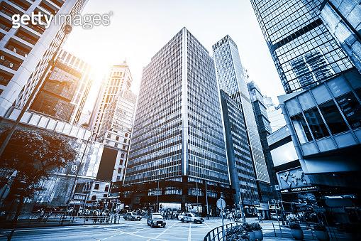 Street scape in modern city, Hong Kong