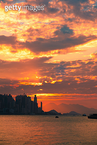 Hong Kong Sunset Over Victoria Harbour