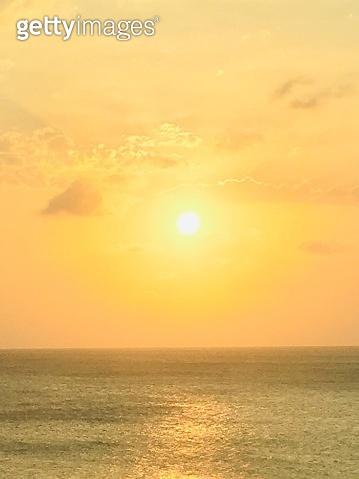 Sunset over ocean of Aruba
