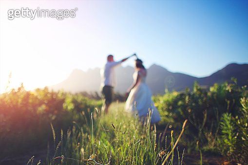 Side view Twirling Wedding Couple Defocused Mountain Backdrop between the fynbos
