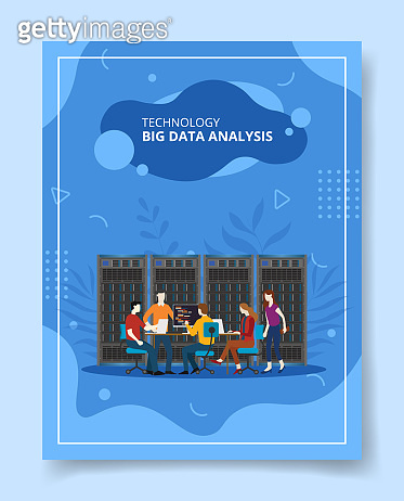 technology big data analysis people sitting discussion front big server for template of banners, flyer, books cover, magazines