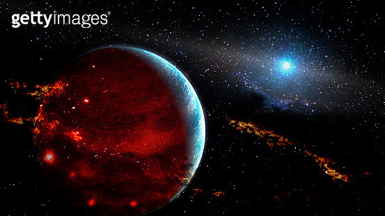 Dark alien planet in outer space. Elements of this image furnished by NASA.