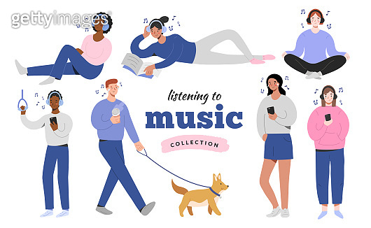 Young people in headphones listening to music at home, doing yoga, in the street walking a dog, joyful cartoon characters, isolated flat vector illustration, teenagers with musical app