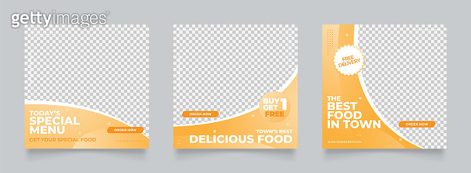 social media template food banner for digital marketing and sale promo. orange yellow banner advertising. promotional mock up photo vector frame illustration