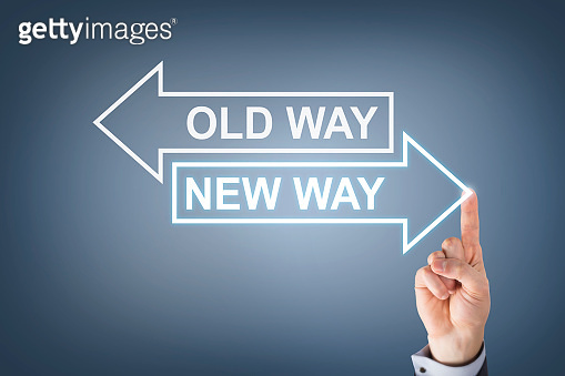 Old Way or New Way Arrows Symbol on Blackboard Background
