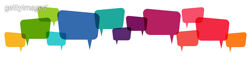 colored speech bubbles row