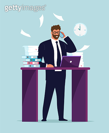 A businessman in a suit works at a laptop at the desk, a lot of papers and documents. Office worker talking on the phone, multitasking, career advancement. Flat vector illustration.