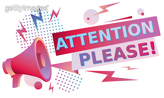 Attention please- trendy colorful sign with megaphone