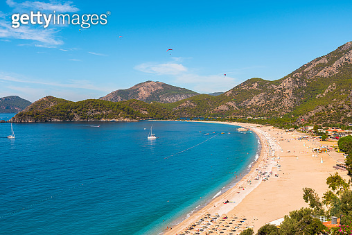 Panoramic view of Oludeniz beach and Blue Lagoon in Turkey. Summer holiday travel destination