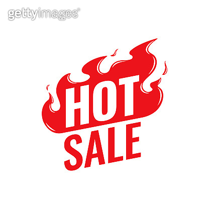 Hot Sale vector icon. Flat promotion fire banner, price tag, hot sale, offer, price. Isolated on a white background