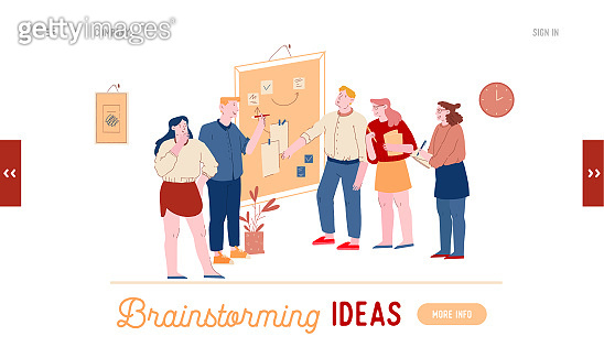 Employee Brainstorm, Search Solution Website Landing Page. Business People Communicate at Board Meeting Discussing Idea in Office. Project Development Web Page Banner. Cartoon Flat Vector Illustration