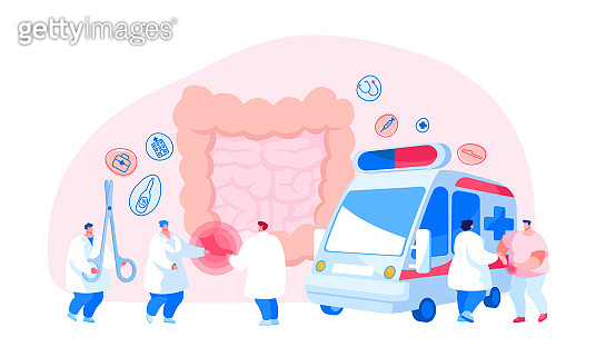 Appendicitis Disease Concept. Appendix Pain Emergency Ambulance Help, Surgery. Doctor and Surgeon Help Patient Character with Abdominal Pain in Intestines Symptoms. Cartoon People Vector Illustration