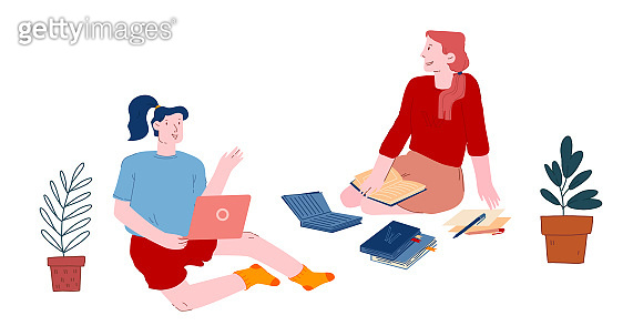Women Students Conference or Studying Process. Girls Sitting on Floor with Books and Laptop Training and Listening Lecture Online, Learning and Watching Tutorials. Cartoon Flat Vector Illustration