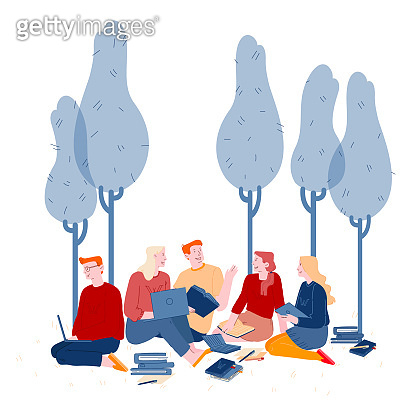 Young People Studying Together Outdoors on Nature Background. Collective Studying, Exam Preparation. Distance Learning, Online Courses, Education, Electronic Books Cartoon Flat Vector Illustration