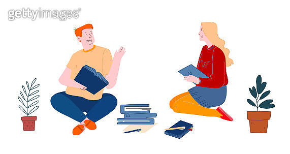 Young Man and Woman Students with Gadget and Books Isolated on White Background. Girl Sitting with Tablet in Hands Listening Boy. Education in University or College Cartoon Flat Vector Illustration