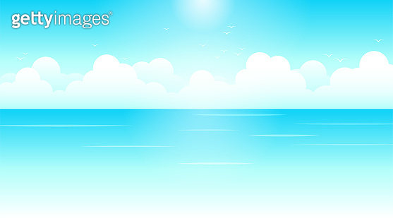 Blue sea wave with white clouds cartoon clear sky and soft sunlight background landscape vector